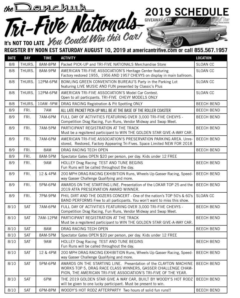 Danchuk Tri-Five Nationals Schedule