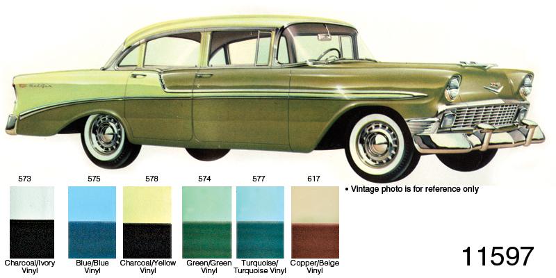 1956 Chevy Door Panel Set Bel Air 4 Door Sedan Charcoalyellow