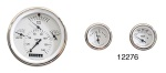 Classic Instruments 1957 Chevy Tetra Series Gauge Set, White Face w/ Black Font & Black Pointers, Flat Lens
