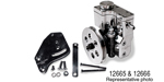 Chevy Mini Reservoir Power Steering Pump Kit, w/ V-Belt Pulley, BB w/ 2-Groove Crank Pulleys