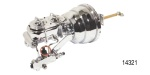 1955-1957 Chevy Chrome Power Brake Conversion Kit, Disc/Drum, 8'' Dual Diaphragm w/ Proportioning Valve