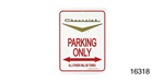 Classic Chevy Parking Sign, Gold Vee ''Chevrolet''