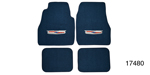 1955-1957 Chevy Carpet Floor Mat w/ Embroidered Crest Logo, Blue Loop, Set