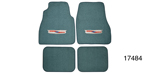 1955-1957 Chevy Carpet Floor Mat w/ Embroidered Crest Logo, Turquoise Loop, Set