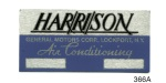 1955-1960 Chevy Aluminum Harrison Air Conditioning Tag
