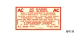 1949-1954 Dry Air Cleaner Decal
