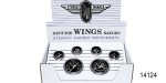 Stewart Warner Chevy Wings Series Gauge Set, Mechanical, Black, 6-Piece