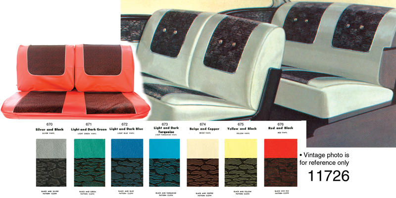 1957 Chevy Seat Cover Set Bel Air 2 Door Hardtop Black