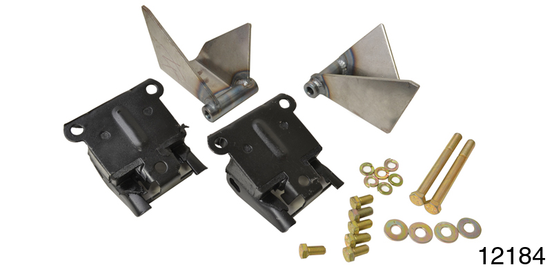 1955-1957 chevy motor mount kit, rubber mounts w/ hardware, 3/4'' forward