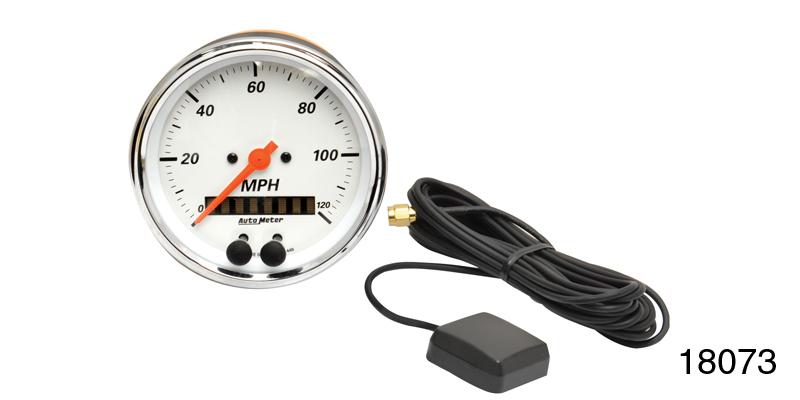 Auto Meter Chevy Arctic White Electric GPS Speedometer, 3-3/8