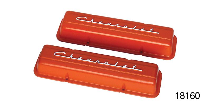 1959 1986 Chevy Cast Aluminum Valve Covers W Chevrolet Script Orange Powdercoated Finish