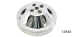 Chevy Polished Billet Aluminum Water Pump Pulley, Double Groove, Small Block w/ Short Water Pump