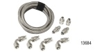 Chevy Stainless Braided Power Steering Hose Kit, GM Boxes w/ Mini Reservoir