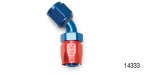 Russell Performance Chevy Hose End, 45°, -8AN, Red/Blue