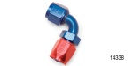 Russell Performance Chevy Hose End, 90°, -8AN, Red/Blue
