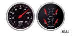 Auto Meter Chevy Designer Black Tach/Speedometer Gauge and Quad Gauge Boxed Kit, 3-3/8'', Electric