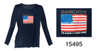 Danchuk Flag Long Sleeve Women's Tee  Shirt, Blue, Large