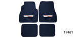 1955-1957 Chevy Carpet Floor Mat w/ Embroidered Crest Logo, Dark Blue Loop, Set