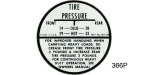 1955-1960 Passenger Car Tire Inflation Decal