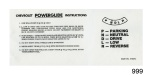 1955-1957 Chevy Powerglide Sunvisor Instruction Sleeve